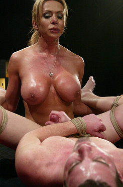Beautiful she male bartender ties up her straight customers.