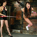 Hot latina worships feet in public while zapped with electricity