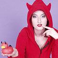Hooded satanic slut with vibrating devil duck