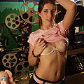 Hot projectionist gets naked spreads pussy at work