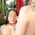 Two naked tattooed goth sluts put on makeup