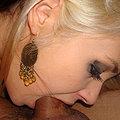 Busty blonde Sarah deepthroats a cock balls deep