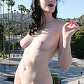 fur coat glam slut strips nude and smokes