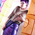 purple hair curvy busty goth chick fetish skirt