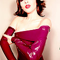 Asian beauty burgundy fetish dress opera gloves