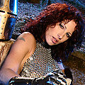 Armed paladin Iveta in hot chainmail