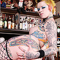 Ultra hot tattooed punk rock babe Rachel Face naked at the punk bar Rachel Face