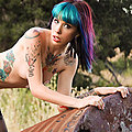 Tasty trouble maker tattooed Goth babe Krysta Kaos in stockings outside Krysta Kaos