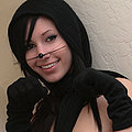 Frisky little kitty Catie Minx drives herself up the wall