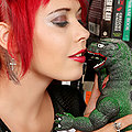 Cute Nerdy Gamer Girl Scarlet Starr in Pigtails Plays with Godzilla