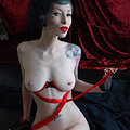 Luscious Pin-up Vamp Razor Candi in Red Ribbons