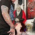 Tattooed Redhead Gives Her Man a Great Blowjob