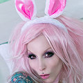 Tattooed Gothic Bunny Babe with Pink Toy