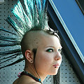 Petite tattooed Punk babe with mohawk upskirts