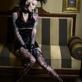 Kinky Tattooed Deathrock Goth Babe Double Dildos