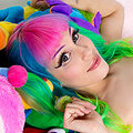 Dorothy Perkins Adorable rainbow kawaii teen in pigtails