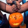 Gothic Dark Magik Babe Cooper Carving Pumpkins Cooper