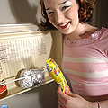 Hot raver girl naked spread plays with frozen pop