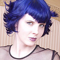 Blue haired goth in see through lace dress