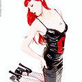 redhead goth chick strips off fetishwear spreads