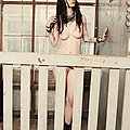 Petite punk girl strips in freight elevator