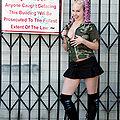 punk girl camo black skirt flashing in public