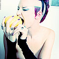 playful sexy goth punk girl with mohawk nude
