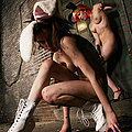 Cute back alley bunny girls naked and playful