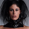 Eva poses in this latex gothic outfit