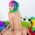 Dorothy Perkins Adorable rainbow kawaii teen in pigtails